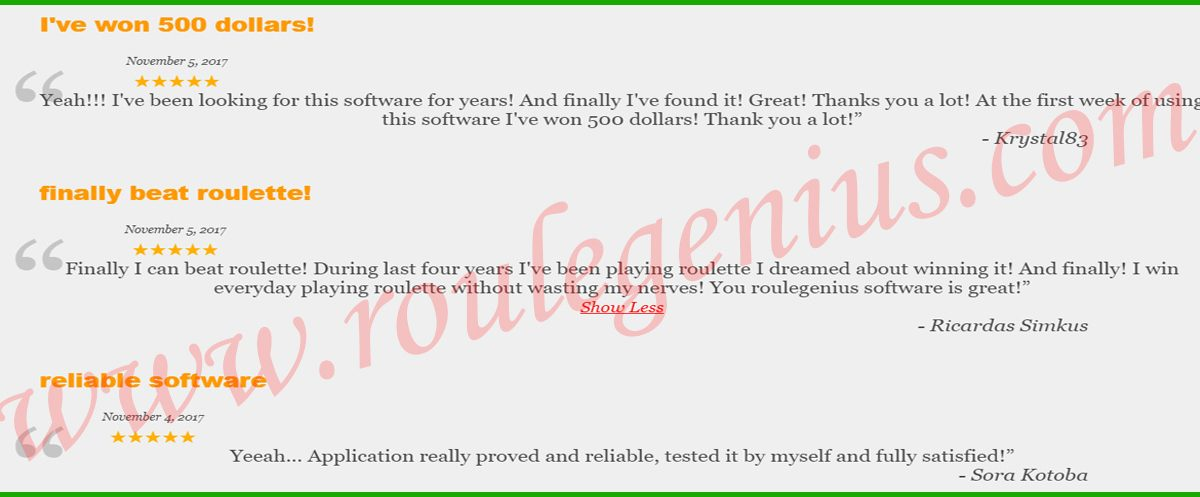 Reviews about RouleGENIUS Roulette Software