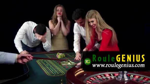 stock video couple celebrating win at roulette