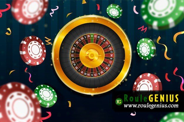 realistic casino roulette background with chips